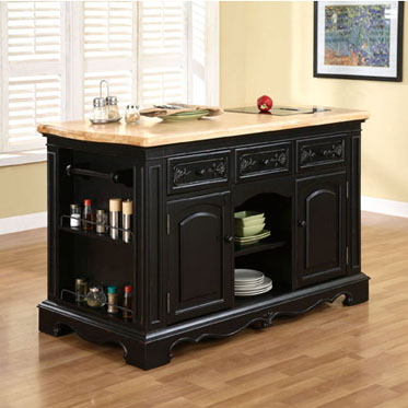 Black French Country Kitchen Island with Stools