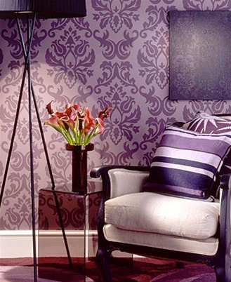 Purple Damask Wallpaper
